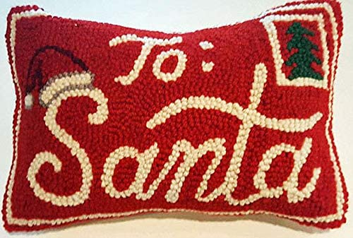 Peking Handicraft Santa Claus North Pole Mail Mini Hooked Wool Pillow 8 x 12