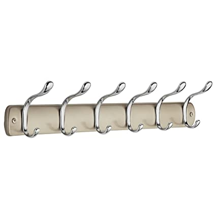 InterDesign Bruschia Colgador de pared, perchero de metal con 6 ganchos para colgar, champán/plateado