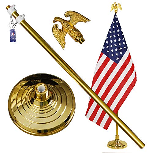 - A-ONE 8FT Telescopic Indoor Flagpole Kit, Heavy Duty US Telescoping Aluminum Flag Pole with Base Stand and Gold Eagle Topper Ornament, Golden