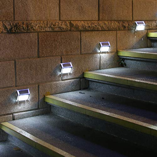 [Pack of 4] F-TECK Outdoor Stainless Steel LED Solar Step Light Wireless Super Bright Modern White Lamp for Deck, Staircase, Walkway, Patio, Garden, Yard, Patio