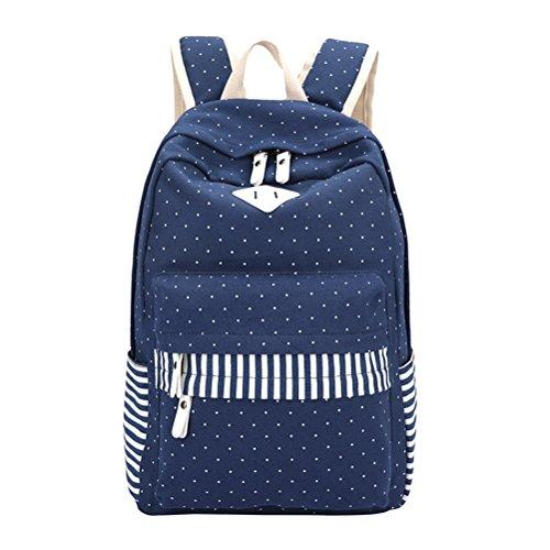 Lienzo Dot Fringe Imprimir Mochila Mujer mochilas escolares para niñas adolescentes estudiante Mochila Mochila Feminina azul Blue