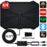 HDTV Antenna,New Version Adjustable Amplifier Signal Booster HDTV Antennas Indoor Digital Amplified 60-100 Miles Range for Free 4K 1080P VHF UHF Local Channels - Support All TV's(16.5ft Coax Cable)