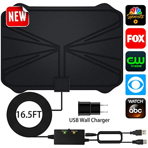 HDTV Antenna,Upgrad Version Adjustable Amplifier Signal Booster HDTV Antennas Indoor Digital Amplified 60-100 Miles Range for Free 4K 1080P VHF UHF Local Channels - Support All TVs(16.5ft Coax Cable)