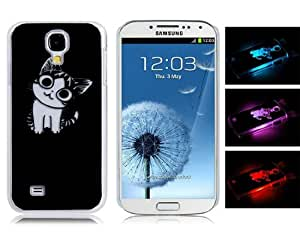 Call Flash Light Cartoon Cat Protective Case for Samsung Galaxy S4/i9500 (Black)
