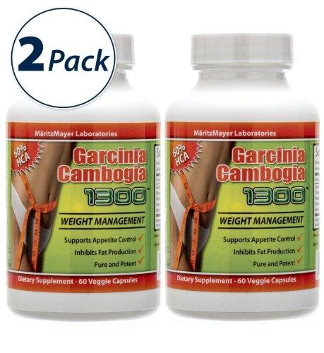 Garcinia cambogia extrait de 1000mg-** 2 ** Bouteille 120 Capsules totale-Premium Garcinia cambogia 1300 par MaritzMayer - Avec potassium - 60% HCA Extrait - 1.000 mg par portion