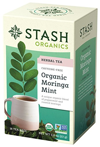 Stash Tea Organic Moringa Mint 18 Teabags in Foil (6 Count) Individual Herbal Tea Bags, Use in Teapots Mugs or Cups, Brew Hot Tea or Iced Tea
