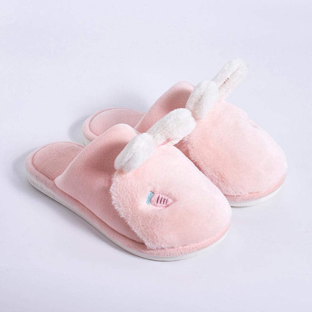 WTFYSYN Deslízate en Zapatos cálidos Forrados de Piel sintética, Zapatillas de algodón Antideslizantes cálidas de Conejo, Relleno de Esponja súper Suave @ 36-37_Pink: Amazon.es: Hogar