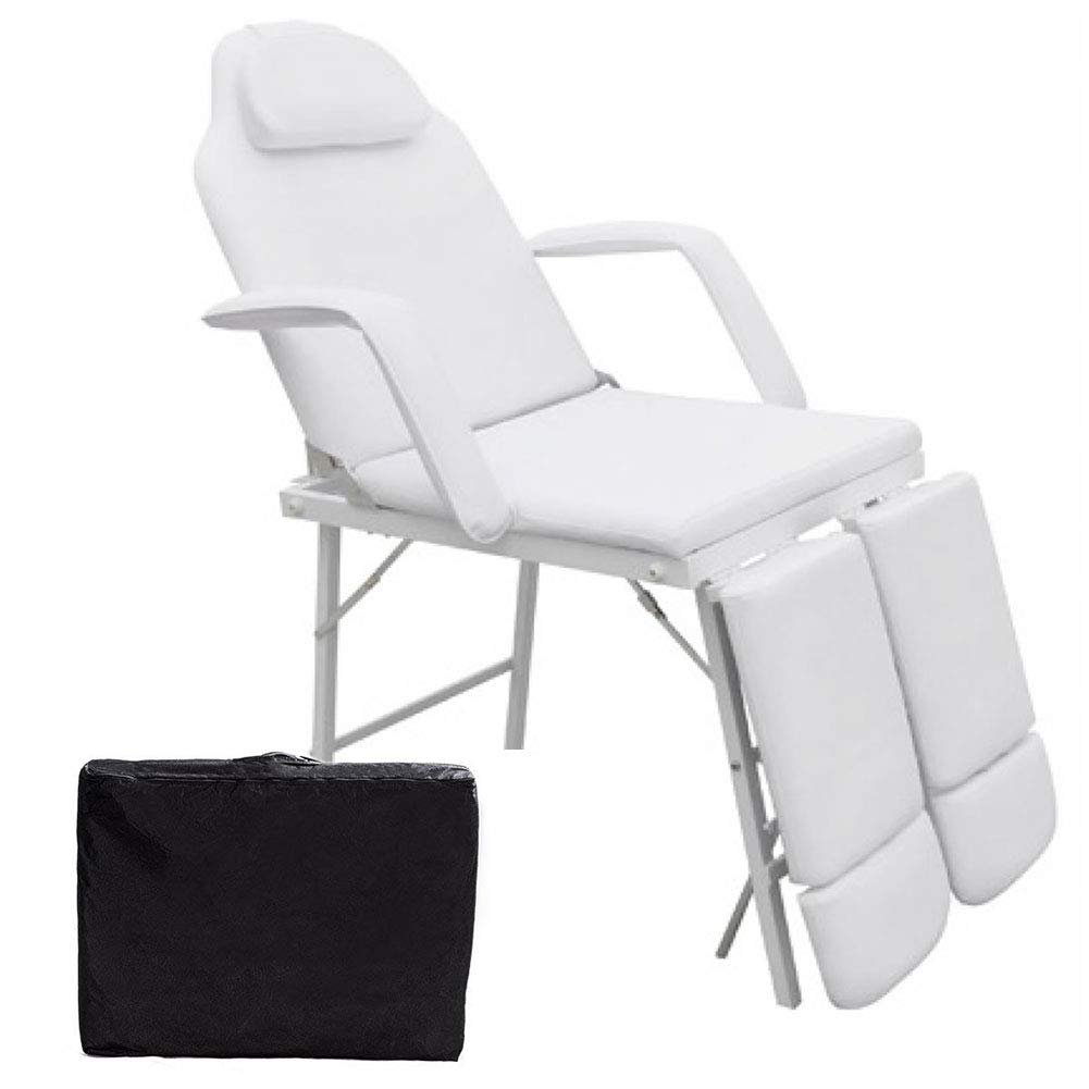 75''L Portable Adjustable Massage Table Chair Couch for Salon Beauty Physiotherapy Facial SPA Tattoo Household(White)