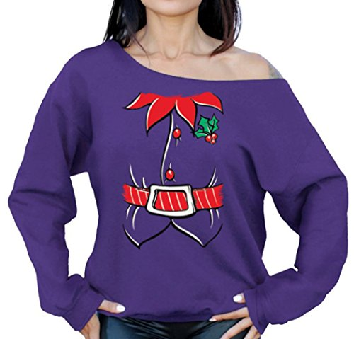 Raxo Elf Costume Ugly Christmas sweatshirt Elf Suit Off the Shoulder sweatshirt sweater Purple (Oversized Santa's Elf Costumes)