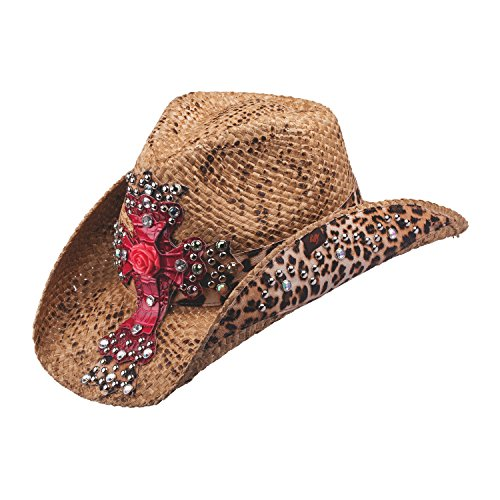 Peter Grimm Ltd Women's Eris Leopard Print And Embellished Cross Straw Cowgirl Brown One Size