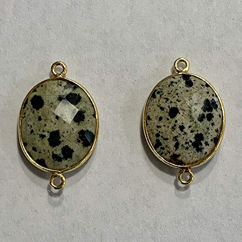 2 Pcs Dalmatian Jasper 15X18mm Oval Pendant 24K Gold Vermeil by BESTINBEADS, Dalmatian Jasper Beads Bezel Gemstone Connector Over 925 Sterling Silver Oval Shape Gemstone Bezel Jewelry Making Supplies