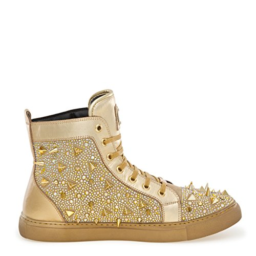 Sneaker Jump Men ZAMBIA By Top High Lace J75 s Up Round Spike Gold Metal Toe Jewel Fw6Rx