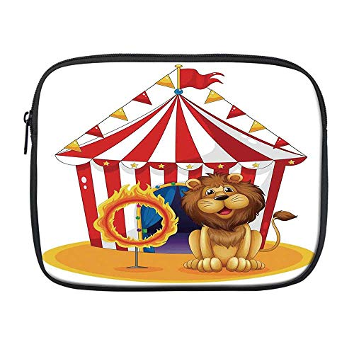 Circus Decor Compatible with Nice iPad Bag,Illustration of a Lion Beside The Fire Hoop at The Circus Old Fashion Kids King of The Forest for Office,One Size