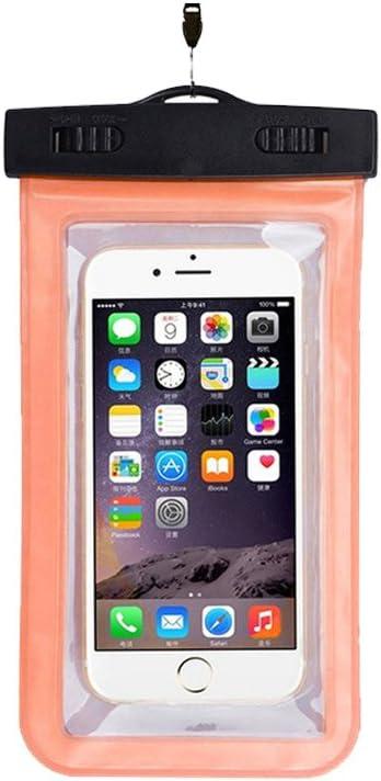 Doitsa Bolsa Resistente al Agua Transparente Funda – Carcasa Impermeable para Smartphones iPhone Sony Huawei Wiko HTC LG MP3 MP4 Samsung, Color Naranja, tamaño 18.5 * 10.5CM: Amazon.es: Hogar