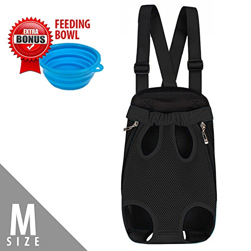 Suede Dog Carrier (Dog Carrier | Comfortable Legs Out Front Dog Carrier Backpack with Tail Hole | Travel Dog Cat Pet Bag for Travel Cycling with Adjustable Shoulder Strap and Inner Collar | Black M | Free Feeding Bowl)