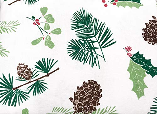 HD Designs Winter Pine, Holly & Pinecone Soft Flannel Sheet Set - 100% Cotton (King)