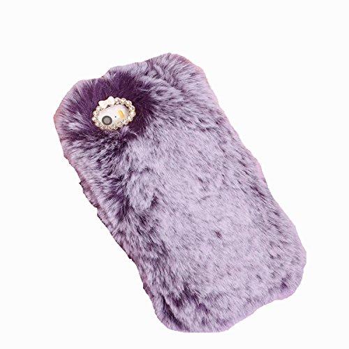 Handmade Faux Fur - iPhone 5S Case,iPhone SE Case,Gift_Source [Ultra Slim] Luxury Stylish Faux Fur Fluffy Plush Soft Case Handmade Bling Crystal Rhinestone TPU Rubber Gel Cover Skin Bumper for iPhone SE/5/5s [Purple]