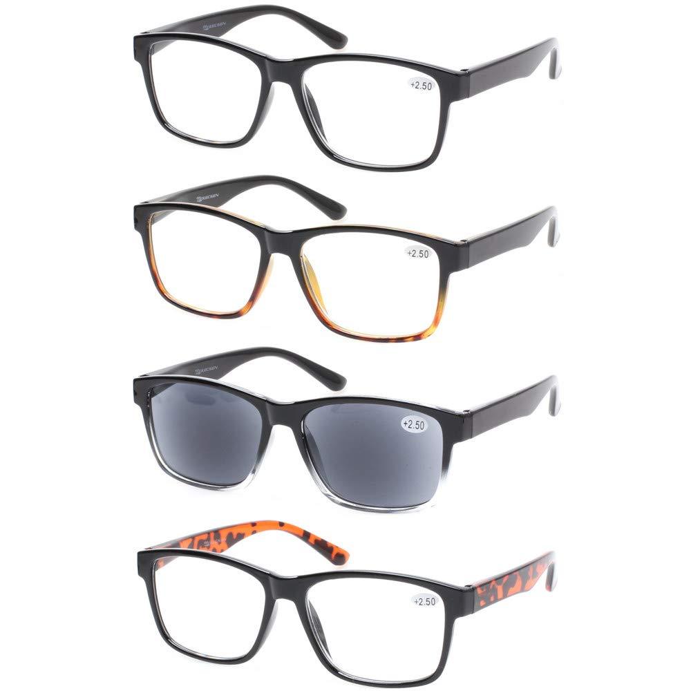 5c84724e2b8c Kerecsen 4 Pack Fashion Men Rectangular Spring Hinge Reading Glasses  Quality Larger Readers Includes Sun Readers ...