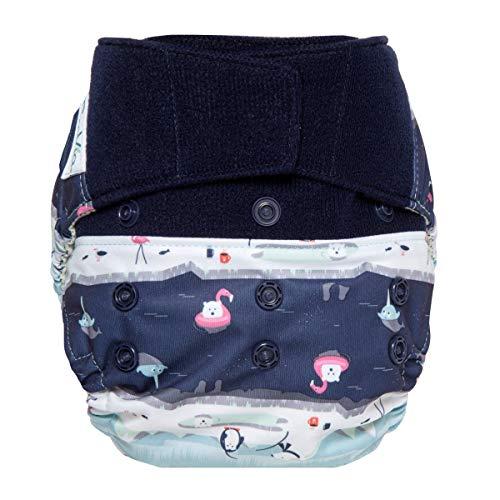 GroVia Reusable Hybrid Baby Cloth Diaper Hook & Loop Shell (Polar Pool Party)