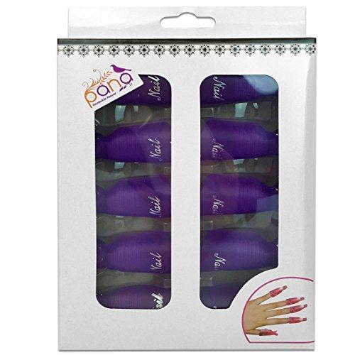 Pana 10 Pcs High Quality Reusable Acrylic Nail Soak Treatment UV Gel Polish Remover Clip Cap Manicure Tool Purple Color
