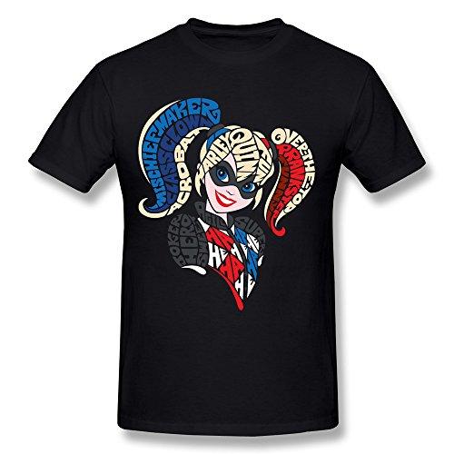 BoAlyn Men's Harley Quinn Words T Shirt Black