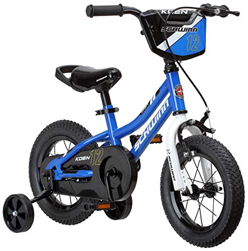 Schwinn Koen Boy's Sidewalk Bike with Training Wheels, Saddle Handle, Chainguard, and Number Plate, 12-Inch Wheels, Blue, Featuring SmartStart Technology - Designed to Fit Children's Proportions