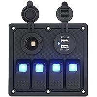 Ecosin Waterproof Auto ATV Marine Boat 4 Gang Circuit Blue LED Rocker Panel Switch