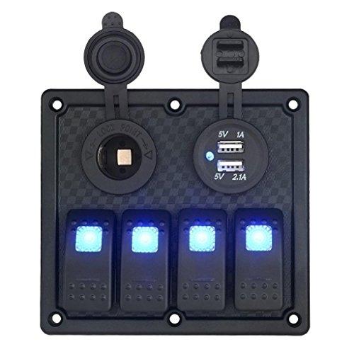 Ecosin Waterproof Auto ATV Marine Boat 4 Gang Circuit Blue LED Rocker Panel Switch ()