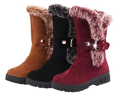 Naughtyangel Women Winter Warm Snow Ankle Boots Low Heels Collar Faux Fur Lined Shoes Rose Red pHao9