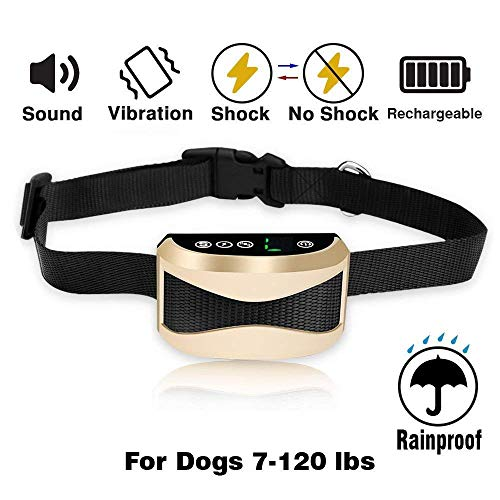 ONSON Bark Collar [2018 Upgrade Version] Barking Control Training Collar with Beep Vibration and No Harm Shock(7 Adjustable Sensitivity Control) for Small Medium Large Dog (Bark Collar - Gold)