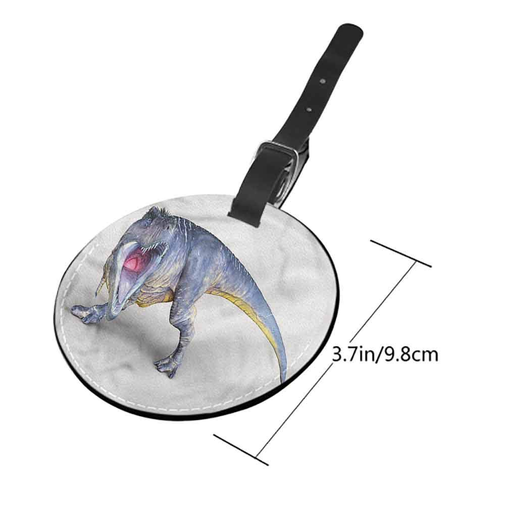 Cute Luggage Tag Dinosaur,People Look at T-Rex Id Tag Suitcase Carry