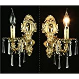 SJUN—European-Style Bedroom Bedside Lamp Living Room Stairs Led Crystal Wall Lamp,A