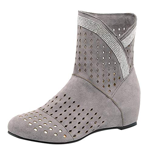 ◕‿◕Watere◕‿◕ Women's Boots,Retro Fashion Women's Booties Flat Boots Hollow Large Size Boots Gray ()