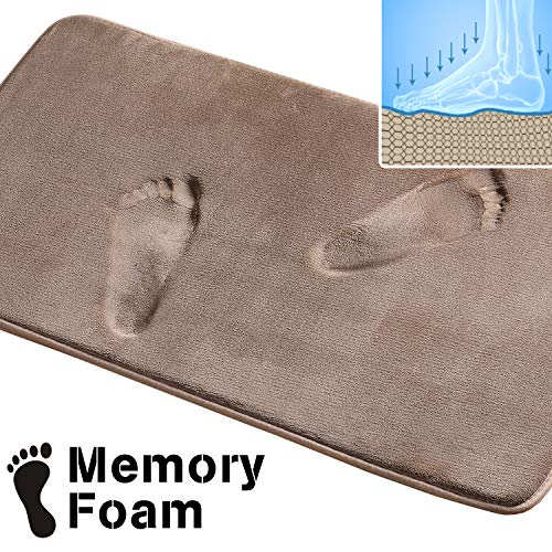Non Slip Super Soft Memory Foam Solid Bath Mat Non Slip Absorbent Bath Rugs Machine Washable (Taupe, Size: W20 x L32)