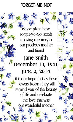 Me Not Packets Seed Forget (Memorial Funeral Forget-Me-Not Seed Packets Set of 200)