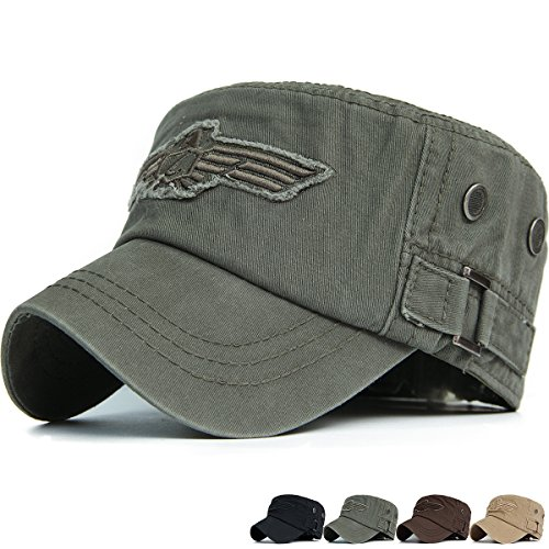 REDSHARKS Cadet Cap Military Army Flat Top Hat Adjustable American USA Eagle Embroidered Patch Ventilation Eyelet Olive