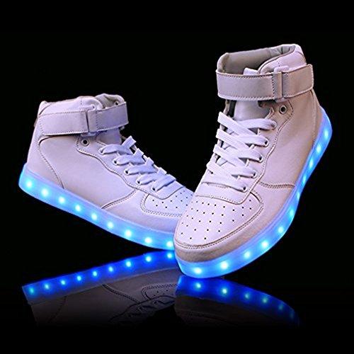 Lumineuse Blanc USB Lumière Femme LED DoGeek Chaussures Charger Lumière Mode LED Basket 7 Couleur Homme Chaussures Basket LED TEFHwxqZw