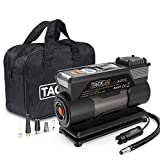 TACKLIFE ACP1C Portable Tire Inflator, DC 12V 150PSI Air Compressor Pump, Digital Tire Inflator with Gauge, LED Flashlight, 4 Nozzle Adaptors and Extra Fuse