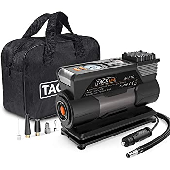 TACKLIFE ACP1C Portable Tire Inflator, DC 12V 150PSI Air Compressor Pump, Digital Tire Inflator with Gauge, LED Flashlight, 4 Nozzle Adaptors and Extra ...