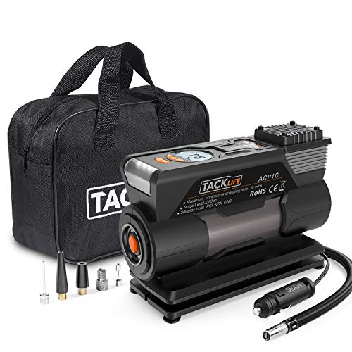 TACKLIFE Tire Inflator ACP1C, DC 12V Portable Air Compressor Pump, Digital Tire Pump with Gauge, LED Flashlight, 4 Nozzle Adaptors, and Extra Fuse - 2 Years Warranty (Best Air Compressor Inflator)