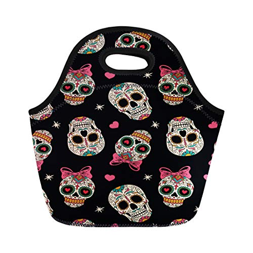 Semtomn Lunch Tote Bag Yellow Sugar Mexican Skulls Pattern Day Dead Carnival Halloween Reusable Neoprene Insulated Thermal Outdoor Picnic Lunchbox for Men Women -