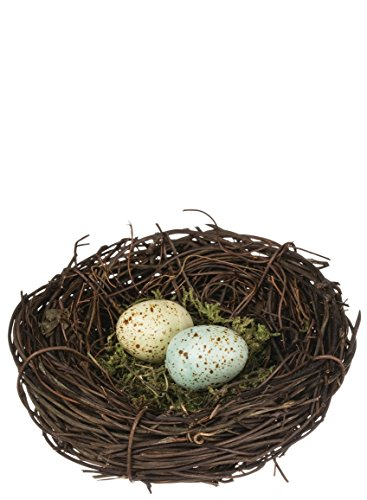 Speckled Robin's Egg Blue Yellow Moss 4 Inch Decorative Bird's Nest