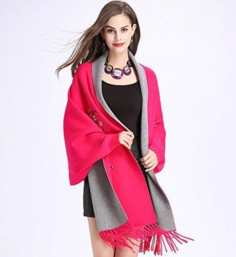 Châle De Casual gris Rose Manteau Elégantes Wanyang Veste Gland Femmes Multifonctionnel Echarpe Rouge Taille Grande qwZ11tF