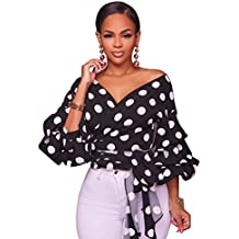 LHS Charmer Women's Elegant V Neck Wrap Long Puff Sleeve Polka Dots Blouse Shirt Tops with Belt Sexy Women Tops Shirts