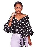 LHS Charmer Women's Elegant V Neck Wrap Long Puff Sleeve Polka Dots Blouse Shirt Tops with Belt (XL, Black)