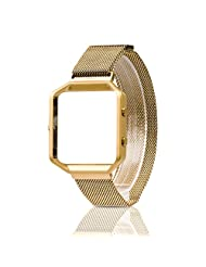 For Fitbit Blaze Band, Wearlizer Milanese Loop Watch Band Replacement Stainless Steel Bracelet Strap With Metal Frame for Fitbit Blaze - Gold Small