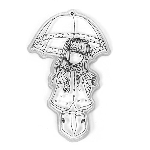 MYEDO New Girls Shape Silicone Gel Cutting Dies Frame for DIY Scrapbooking (Girl With Umbrella)