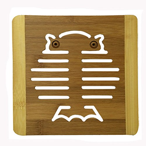 Fashionable Moso Bamboo Place Mat/ Cup Mat/ Pot Holder, Owl, Set of 4