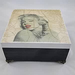 Grande de madera 20 x 20 cm caja de almacenamiento joyas, diseño de Marylin Monroe, decorado a mano con decoupage, regalo de cumpleaños, regalo de Navidad, Retro New: Amazon.es: Hogar