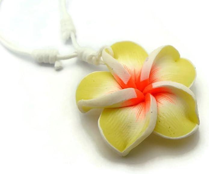 Amazon Com Apecto Hawaiian Fimo Plumeria Flower Pendant Charm